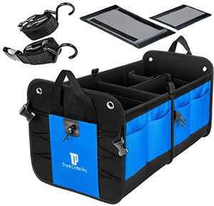 Trunk Crate Pro Collapsible Portable Multi Compartments Heavy Duty Non-Slip Cargo Trunk Organizer Storage, Blue