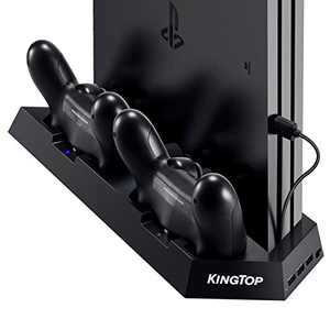 PS4 Universal Controller Charger KINGTOP PS4/PS4 Pro/PS4 Slim Fan Cooler Vertical Stand Dual Charging Station