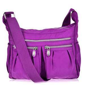Vbiger Women Casual Multi Pockets Waterproof Shoulder Bag (Rose Red)
