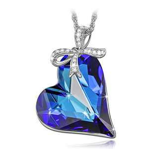 LADY COLOUR Jewelry Gifts for Mom Necklaces for Women Blue Heart Pendant Crystal Fashion Jewelry for Her Birthday Gifts for Women Wife Girlfriend Daughter Mom Grandma Girls Gifts