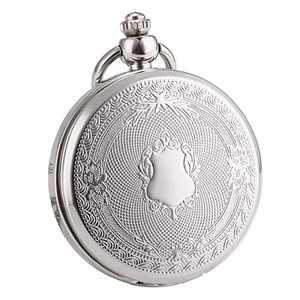 WENSHIDA Pocket Watch Skeleton Mechanical Shield Vintage Mens Women Roman Numerals Sliver Pendant Fob