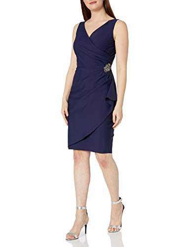 Alex Evenings Women's Short Side Ruched Dress with Cascade Ruffle Skirt, Navy, 10