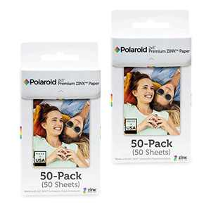 Polaroid 2x3 inch Premium Zink Photo Paper (100 Sheets) Compatible with Polaroid Snap, Snap Touch and Zip.