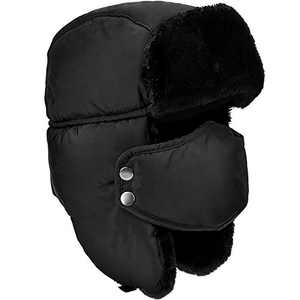 DOXHAUS Unisex Winter Ear Flap, Trooper, Trapper, Bomber Hat, Keeping Warm While Skating, Skiing Other Outdoor Activities Black, Black Fur