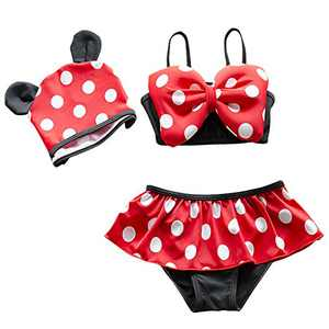 Jastore 3pcs Baby Girls Swimwear Cute Polka Dots Bikini Set Swimsuit (XL/5-6T) Red