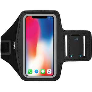 i2 Gear Armband Compatible with iPhone Xs, X, Samsung Galaxy S10, S9, S8, S7, Google Pixel 2, 3 - Reflective Arm Band Phone Holder for Running & Exercise Large
