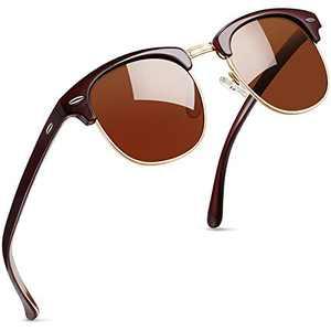 Joopin Semi Rimless Polarized Sunglasses Women Men Retro Brand Sun Glasses with Case (Brown)