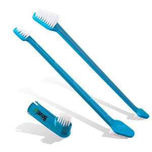 Boshel Dog Toothbrush Pack - 2 Long Handled Dual Headed Toothbrush + 1 Dog Finger Toothbrush Kit for Dog Dental Care - Use Double Sided Pet Toothbrush Set & Pet Finger Toothbrush with Dog Toothpaste