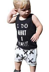 2pcs Newborn Toddler Kids Baby Boys Girls Black T-shirt Tops+White Cross Print Pants Outfits Clothes Set (80(6-12months))
