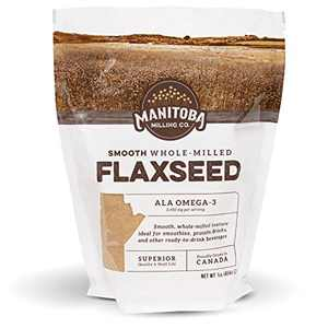 Smooth, Whole Milled Flaxseed by Manitoba Milling Co. | 1lb (16oz) Bag of Ground Flaxseed Fiber with Protein, Omega 3 | Gluten Free, Non-GMO Gourmet Milled Flaxseed for Muffins, Yogurt, Smoothie