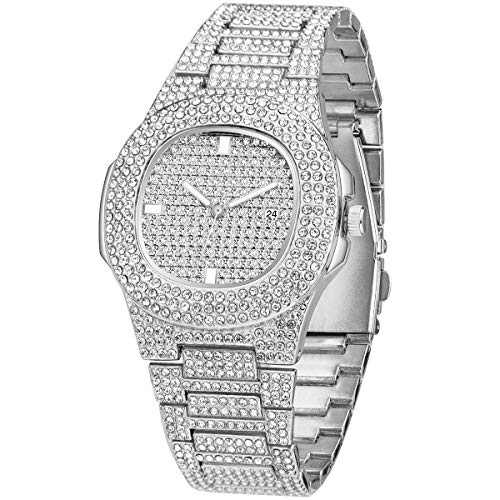 Men's Fashion Iced Out Watch Luxury Diamond Oblong Wrist Watch with Stainless Steel Bracelet Blinged Out Silver Watch for Men Hip Hop Rapper