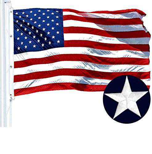 G128 American Flag 8x12 ft USA US Flag Embroidered Stars Sewn Stripes Brass Grommets Durable Indoor Outdoor Use