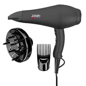 JINRI Infrared Sterilization Professional Salon Hair Dryer Ionic Sterilization Hair Dryer with Diffuser & Concentrator Attachments for Curly Hair, Black (X-Large)