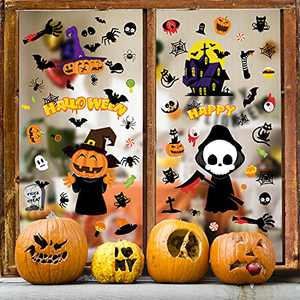 Halloween Window Clings Halloween Window Stickers Ghosts Bats Pumpkin Skeleton Window Decals for Home Office Holiday Party Decorations(9 Sheets/126 pcs)
