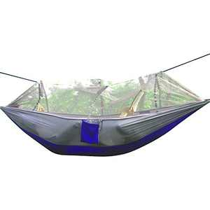 Rusee Camping Hammock, Mosquito Net Outdoor Hammock Travel Bed Lightweight Parachute Fabric Double Hammock for Indoor, Camping, Hiking, Backpacking, Backyard (Grey + Blue)