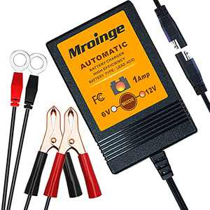 Mroinge 6V / 12V 1A Fully Automatic Trickle Battery Charger/Maintainer for Automotive Vehicle Motorcycle Lawn Mower ATV RV Powersport Boat, Sealed Deep-Cycle AGM Gel Cell Lead Acid Batteries
