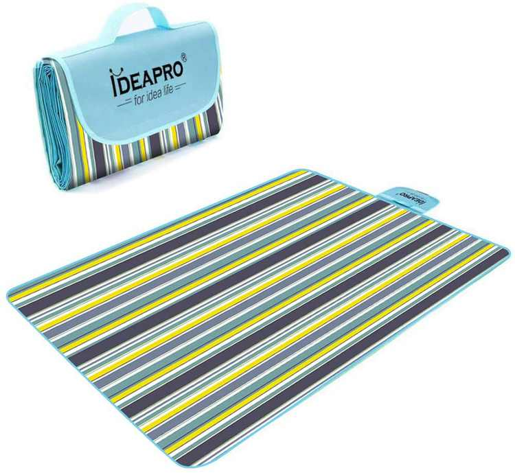 Picnic Blanket, IDEAPRO Large Outdoor Picnic Blanket with Waterproof Backing - 145 x 180 cm Beach Rug Mat - Folding and Portable Perfect for Beach, Travel, Festival, Camping