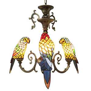 FUMAT Tiffany Style Stained Glass Parrot Chandelier 3 Heads Restaurant Pendant Lamps 3 Light Bulbs Living Room Hanglamp Kitchen Pendant Lamp