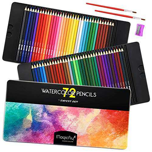 Magicfly Watercolor Pencils Set, 72 Professional Colored Pencils Set Premier Soft Lead with 2 Brushes & Pencil Sharpener, Drawing Supplies for Adult Kids, Art Sketching Supplies for Coloring Books