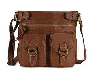 Scarleton Large Crossbody Shoulder Bag for Women, Ultra Soft Washed Vegan Leather, Brown, H199804