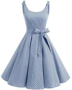 Bbonlinedress 1950's Bowknot Vintage Retro Polka Dot Rockabilly Swing Dress Blue White Dot L