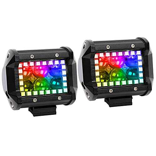 """Nicoko 18w 4"""" Cree Led Work Light bar with Multi-Color Chasing RGB Halo 10 Solid Colors Over 72 Flashing Modes Offroad Pods Lights LED Driving Lamp Fog Lights for Truck Jeep 1 Year Warranty Pack 2"""