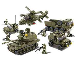 """Sluban M38-B0208 Blocks Army Bricks Toy Hind Helicopter, T-90 Main Battle Tank, Army Personnel Carriers, Army Je-ep, Prowl Car,1 Set, 25.2""""x3.5""""x18.7"""", Green"""