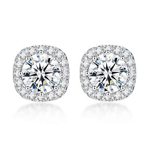 SENCLE S925 Sterling Silver with 18K White Gold Plated Square Cubic Zirconia Halo Stud Earrings for Women