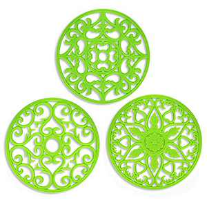 ME.FAN 3 Set Silicone Multi-Use Intricately Carved Trivet Mat - Insulated Flexible Durable Non Slip Coasters (Green)
