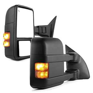YITAMOTOR Towing Mirrors Compatible for 99-07 Ford F250/F350/F450/F550 Super Duty, 01-05 Excursion Pair Set Extendable Smoke Power Heated with Signal Light Side Mirrors