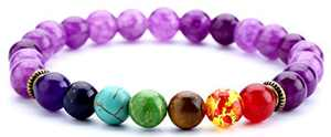 Doitory 8mm Lava Rock Chakra Beads Bracelet Elastic Gifts for Girls Natural Stone Yoga Bracelet Bangle(Amethyst Beads)