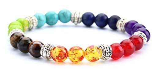 Doitory Men Women 8mm Lava Rock Chakra Beads Bracelet Elastic Natural Stone Yoga Bracelet Bangle(Chakra Stones)