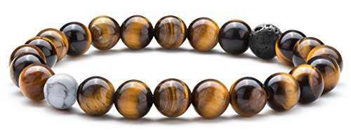 Hamoery Men Women 8mm Tiger Eye Stone Beads Bracelet Elastic Natural Stone Yoga Bracelet Bangle(Tiger Eye Stone)