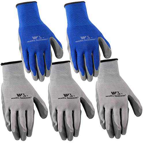 5-Pair Pack Wells Lamont Nitrile Work Gloves   Lightweight, Abrasion Resistant   Large (580LA)