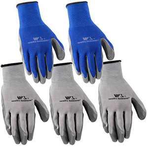 5-Pair Pack Wells Lamont Nitrile Work Gloves | Lightweight, Abrasion Resistant | Large (580LA)
