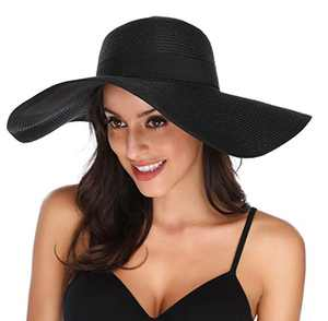 Lanzom Womens Wide Brim Straw Hat Big Floppy Foldable Roll up Cap Beach Sun Hat UPF 50+ (Style C-Black)