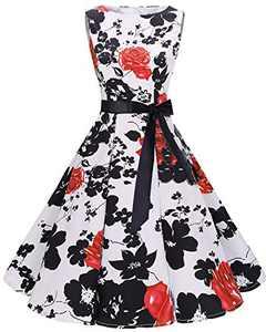 Bbonlinedress Womens Vintage 1950s Boatneck Sleeveless Retro Rockabilly Swing Cocktail Dress RedFlower XS
