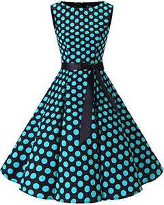 Bbonlinedress Womens Vintage 1950s Boatneck Sleeveless Retro Rockabilly Swing Cocktail Dress Black Blue BDot L