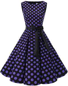 Bbonlinedress Womens Vintage 1950s Boatneck Sleeveless Retro Rockabilly Swing Cocktail Dress Black Purple BDot S