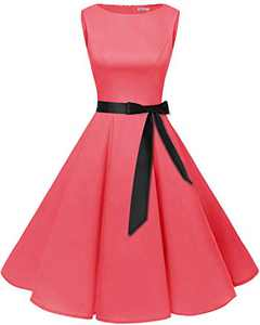 Bbonlinedress Womens Vintage 1950s Boatneck Sleeveless Retro Rockabilly Swing Cocktail Dress Coral XS
