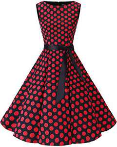 Bbonlinedress Womens Vintage 1950s Boatneck Sleeveless Retro Rockabilly Swing Cocktail Dress Black Red BDot M