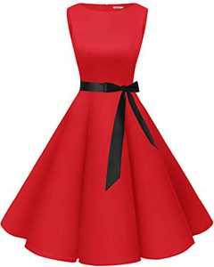 Bbonlinedress Womens Vintage 1950s Boatneck Sleeveless Retro Rockabilly Swing Cocktail Dress Red XL