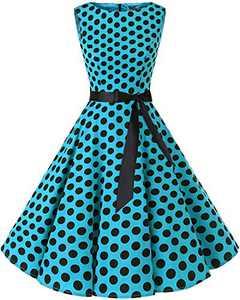 Bbonlinedress Womens Vintage 1950s Boatneck Sleeveless Retro Rockabilly Swing Cocktail Dress Blue Black BDot L
