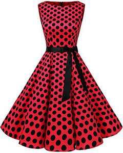 Bbonlinedress Womens Vintage 1950s Boatneck Sleeveless Retro Rockabilly Swing Cocktail Dress Red Black BDot XS