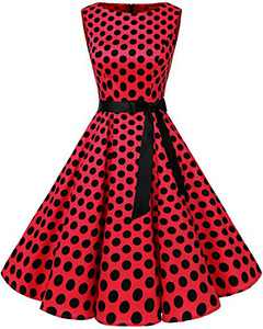 Bbonlinedress Womens Vintage 1950s Boatneck Sleeveless Retro Rockabilly Swing Cocktail Dress Red Black BDot L