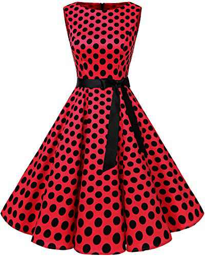 Bbonlinedress Womens Vintage 1950s Boatneck Sleeveless Retro Rockabilly Swing Cocktail Dress Red Black BDot 3XL