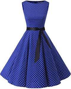 Bbonlinedress Womens Vintage 1950s Boatneck Sleeveless Retro Rockabilly Swing Cocktail Dress RoyalBlue White Dot L