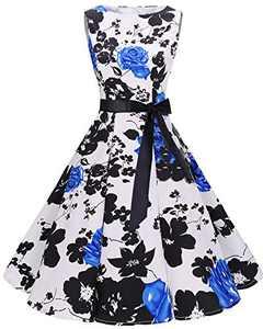 Bbonlinedress Womens Vintage 1950s Boatneck Sleeveless Retro Rockabilly Swing Cocktail Dress BlueFlower M