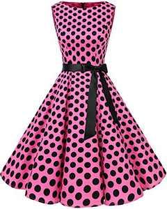 Bbonlinedress Womens Vintage 1950s Boatneck Sleeveless Retro Rockabilly Swing Cocktail Dress Pink Black BDot XS