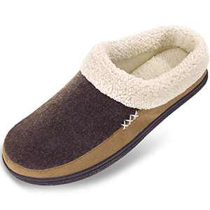 Men's Slippers Fuzzy House Shoes Memory Foam Slip On Clog Plush Wool Fleece Indoor Outdoor Size 13-14 Coffee/Light Brown